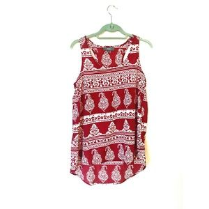 Umgee Sheer Red Print Tank